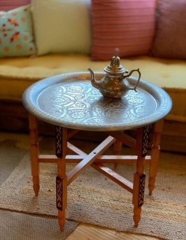 שולחן מרוקאי ומגש כסף עבודת יד